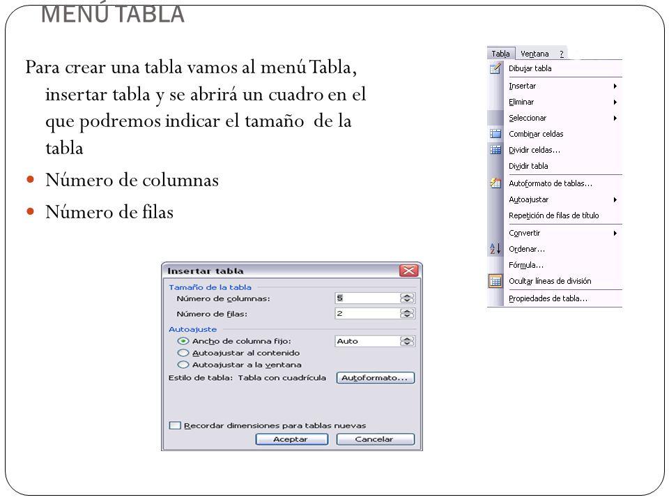 Hay tres formas de crear una tabla 1.Menú Tabla, 2.Icono de la barra estándar 3.Dibujándola con el ratón Elegiremos uno u otro según sea la tabla que