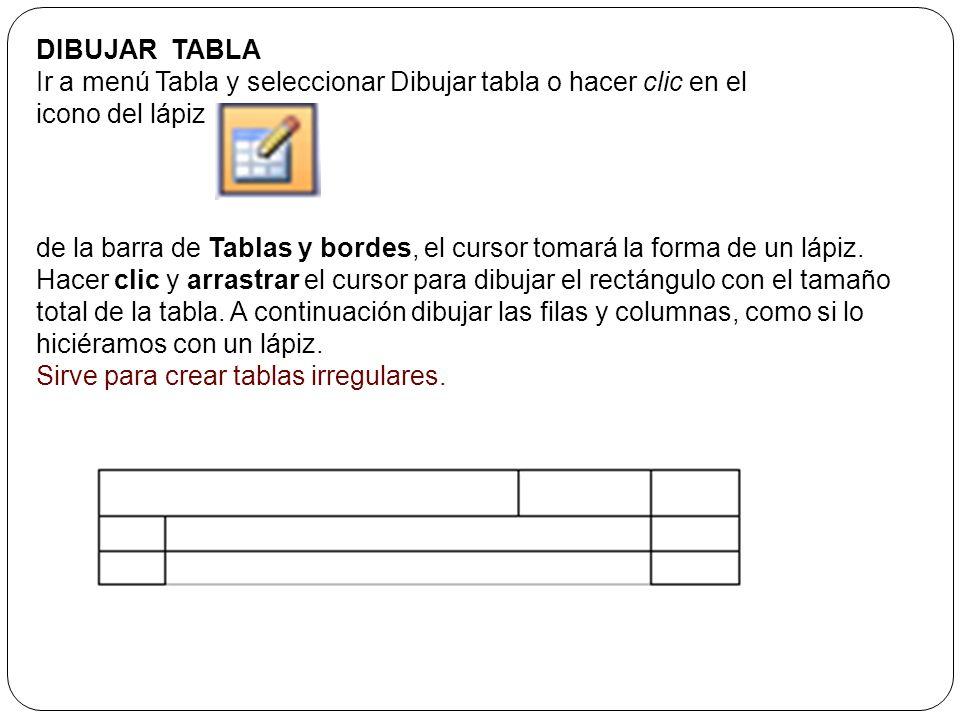 ICONO Al hacer clic en el icono tabla de la barra estándar se abre una ventana como la que se muestra a la derecha. Moviendo el ratón dentro de la rej