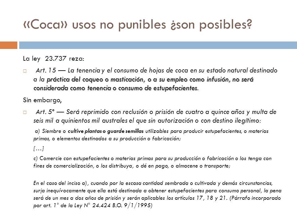 «Coca» usos no punibles ¿son posibles? La ley 23.737 reza: práctica del coqueo o masticación, o a su empleo como infusión, no será considerada como te