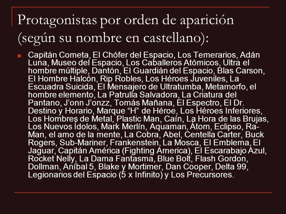 Protagonistas por orden de aparición (según su nombre en castellano): Capitán Cometa, El Chófer del Espacio, Los Temerarios, Adán Luna, Museo del Espa
