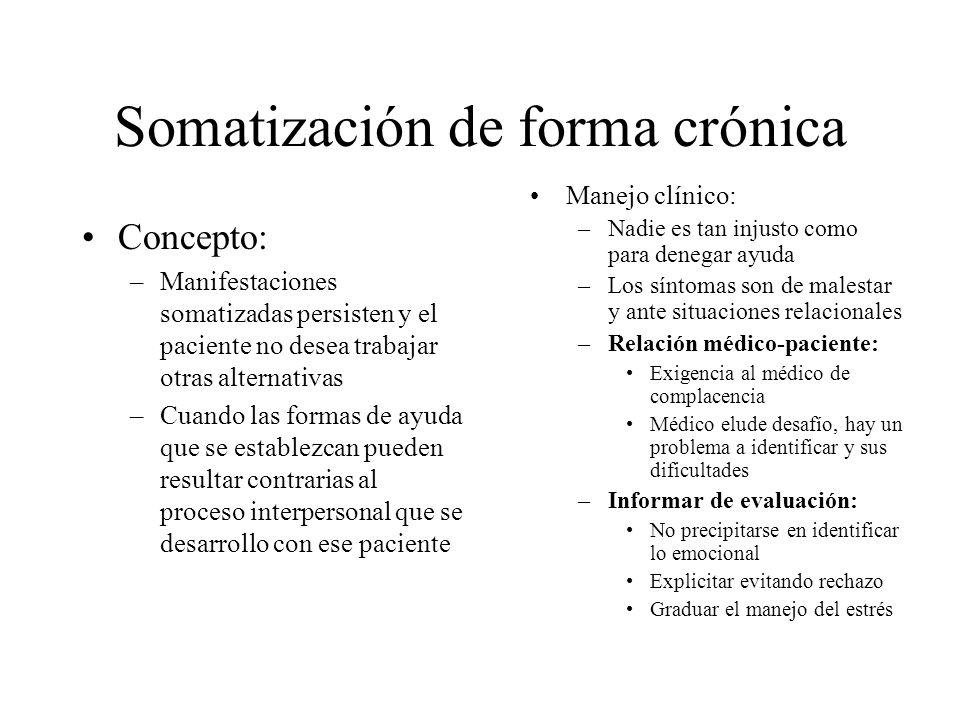Somatización de forma crónica Concepto: –Manifestaciones somatizadas persisten y el paciente no desea trabajar otras alternativas –Cuando las formas d
