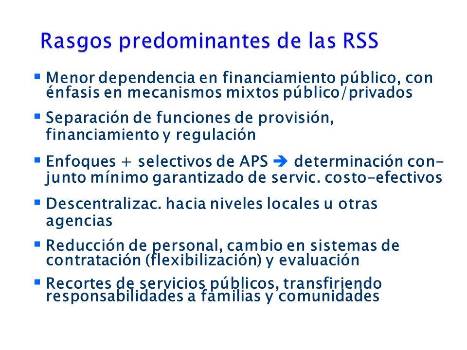 Menor dependencia en financiamiento público, con énfasis en mecanismos mixtos público/privados Separación de funciones de provisión, financiamiento y regulación Enfoques + selectivos de APS determinación con- junto mínimo garantizado de servic.