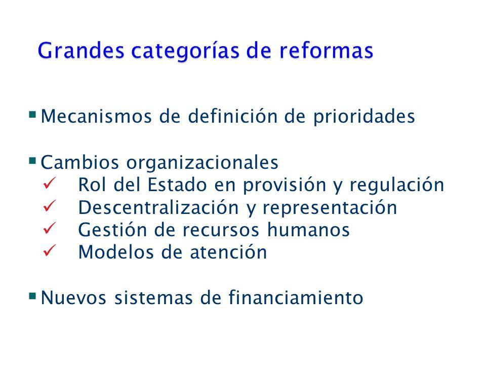 Mecanismos de definición de prioridades Cambios organizacionales Rol del Estado en provisión y regulación Descentralización y representación Gestión de recursos humanos Modelos de atención Nuevos sistemas de financiamiento