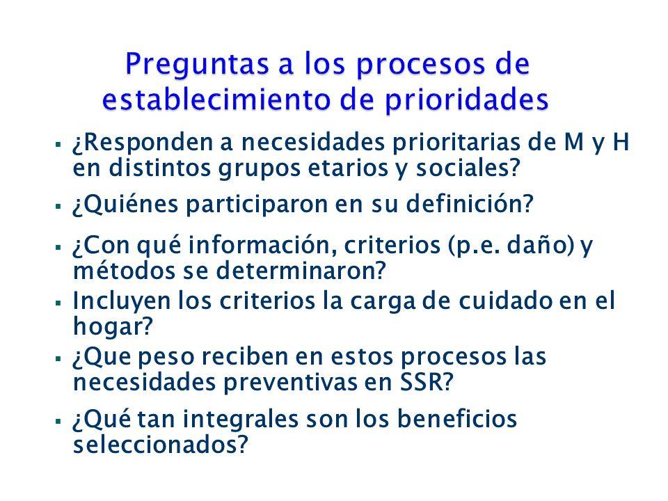 ¿Responden a necesidades prioritarias de M y H en distintos grupos etarios y sociales.