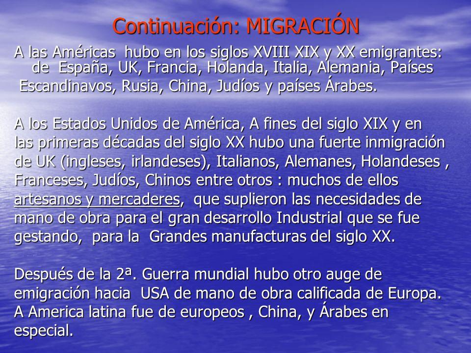 Continuación: MIGRACIÓN A las Américas hubo en los siglos XVIII XIX y XX emigrantes: de España, UK, Francia, Holanda, Italia, Alemania, Países Escandi
