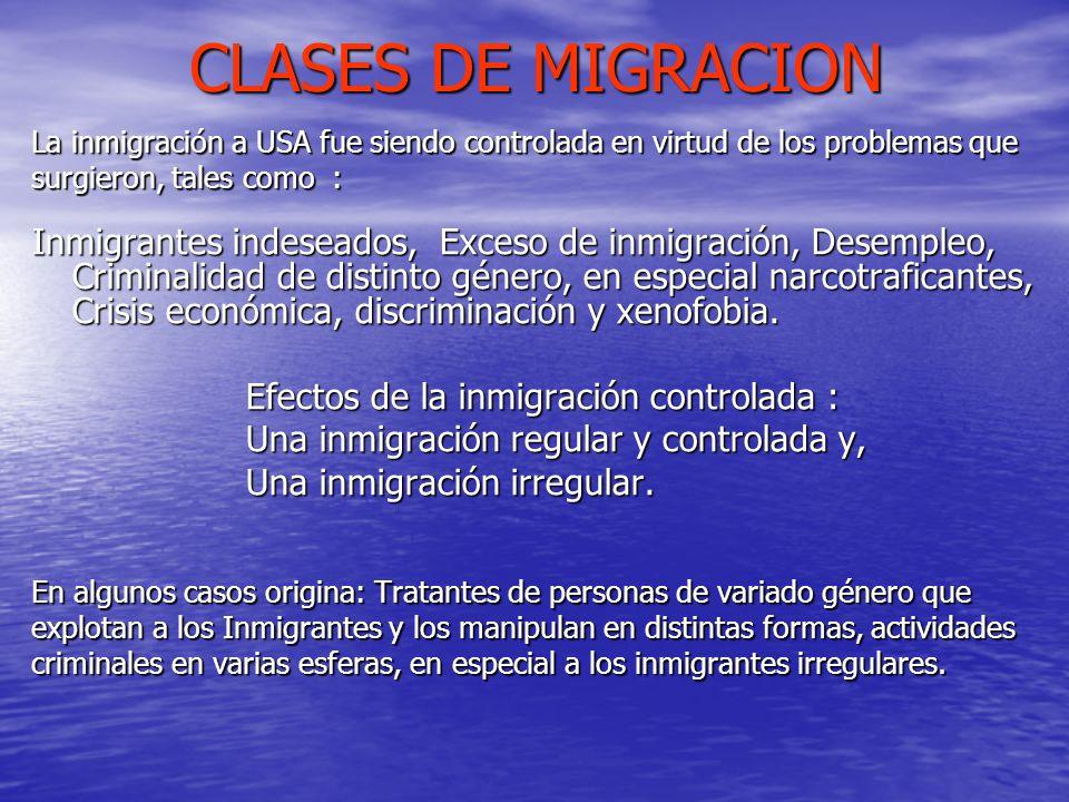CLASES DE MIGRACION La inmigración a USA fue siendo controlada en virtud de los problemas que surgieron, tales como : Inmigrantes indeseados, Exceso d