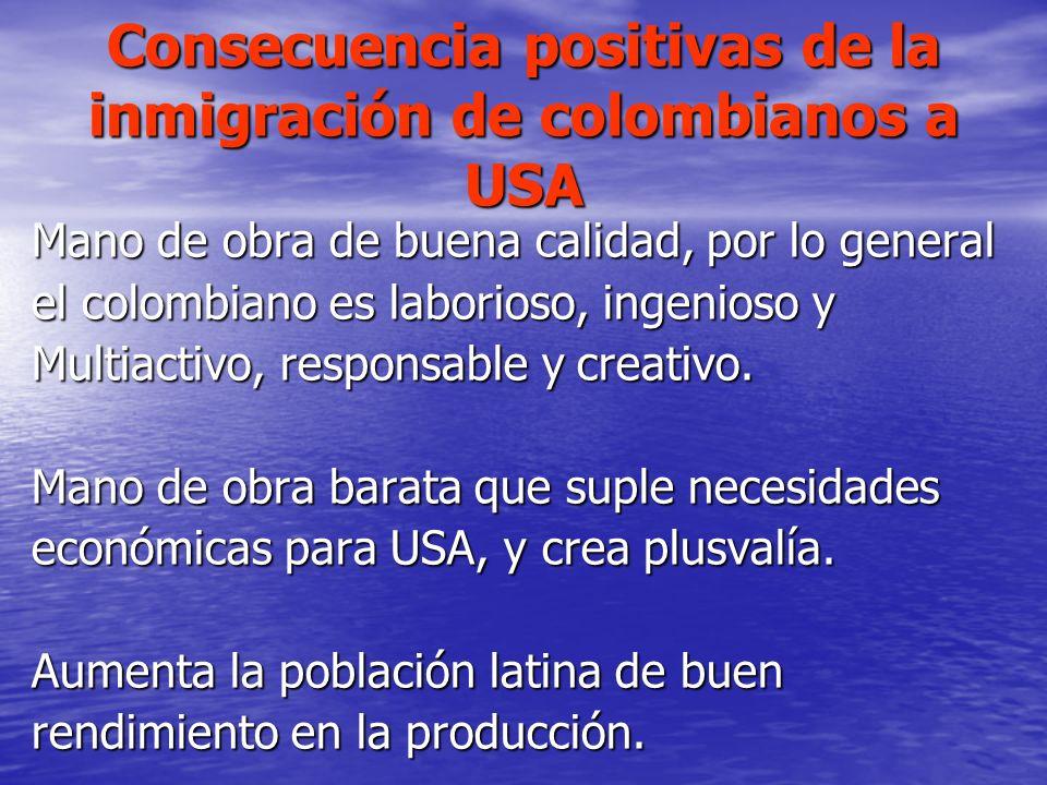 Consecuencia positivas de la inmigración de colombianos a USA Mano de obra de buena calidad, por lo general el colombiano es laborioso, ingenioso y Mu