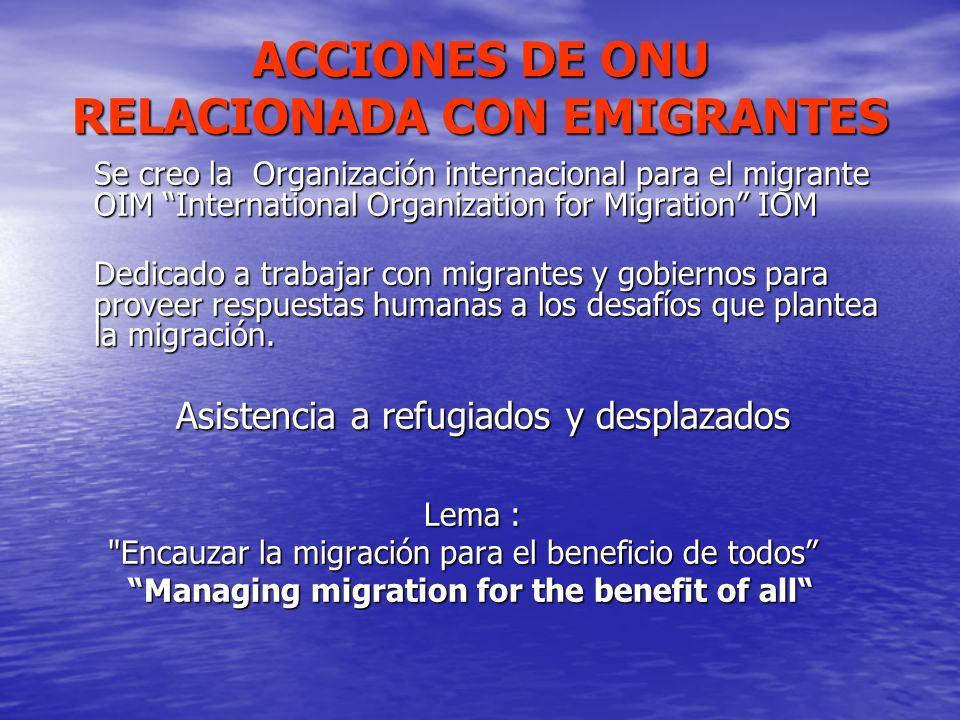 ACCIONES DE ONU RELACIONADA CON EMIGRANTES Se creo la Organización internacional para el migrante OIM International Organization for Migration IOM Se