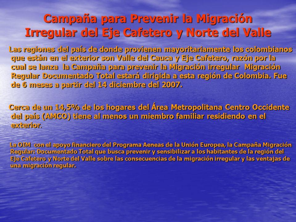 Campaña para Prevenir la Migración Irregular del Eje Cafetero y Norte del Valle Las regiones del país de donde provienen mayoritariamente los colombia