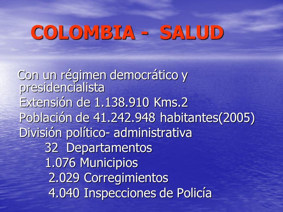 COLOMBIA - SALUD COLOMBIA - SALUD Con un régimen democrático y presidencialista Con un régimen democrático y presidencialista Extensión de 1.138.910 K