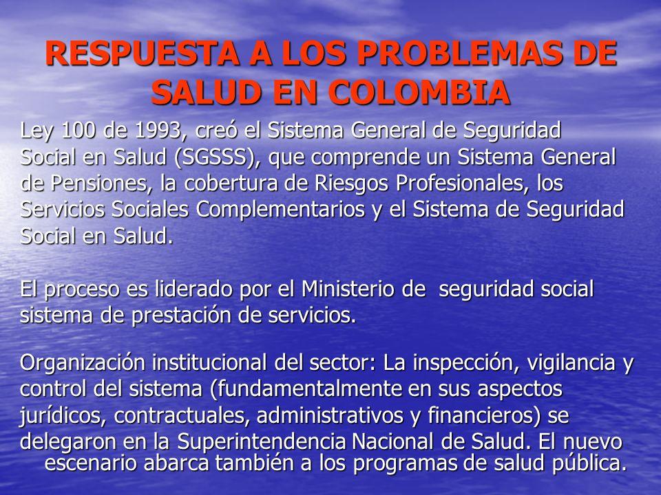 RESPUESTA A LOS PROBLEMAS DE SALUD EN COLOMBIA Ley 100 de 1993, creó el Sistema General de Seguridad Social en Salud (SGSSS), que comprende un Sistema