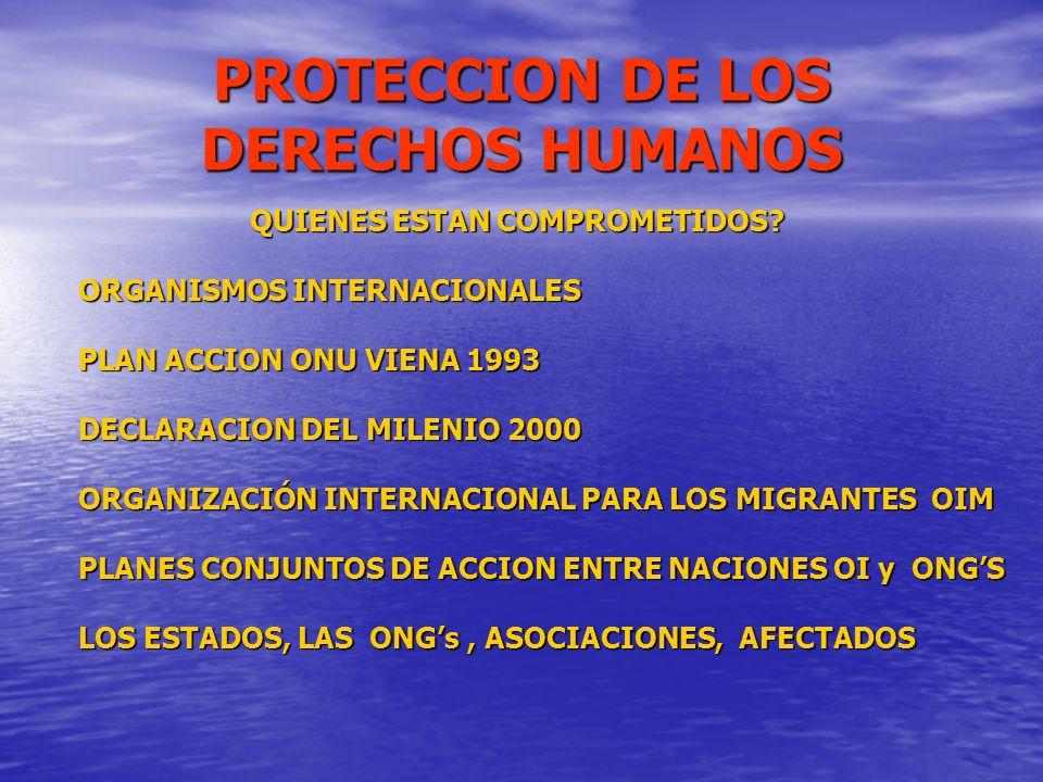 PROTECCION DE LOS DERECHOS HUMANOS QUIENES ESTAN COMPROMETIDOS? QUIENES ESTAN COMPROMETIDOS? ORGANISMOS INTERNACIONALES PLAN ACCION ONU VIENA 1993 DEC