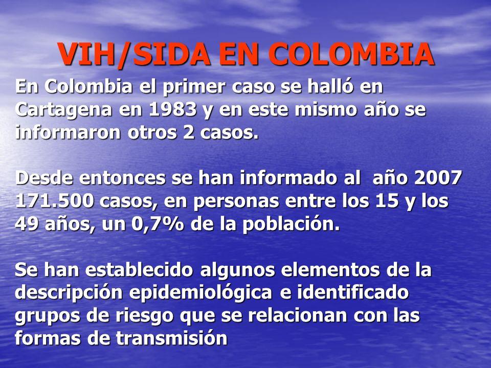VIH/SIDA EN COLOMBIA En Colombia el primer caso se halló en Cartagena en 1983 y en este mismo año se informaron otros 2 casos. Desde entonces se han i