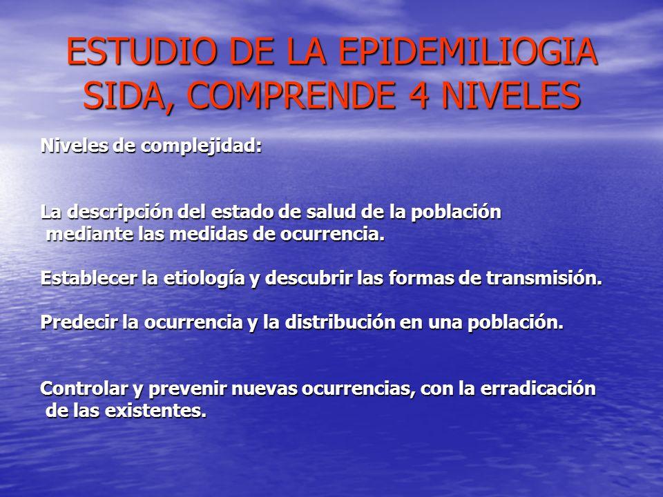 ESTUDIO DE LA EPIDEMILIOGIA SIDA, COMPRENDE 4 NIVELES Niveles de complejidad: La descripción del estado de salud de la población mediante las medidas