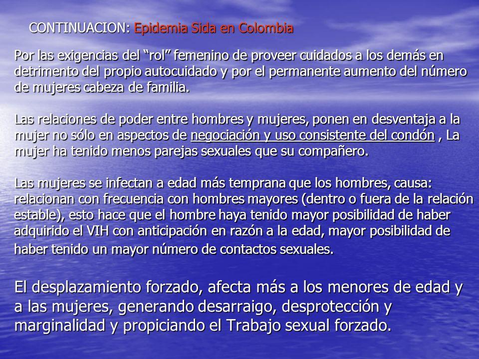 CONTINUACION: Epidemia Sida en Colombia Por las exigencias del rol femenino de proveer cuidados a los demás en detrimento del propio autocuidado y por