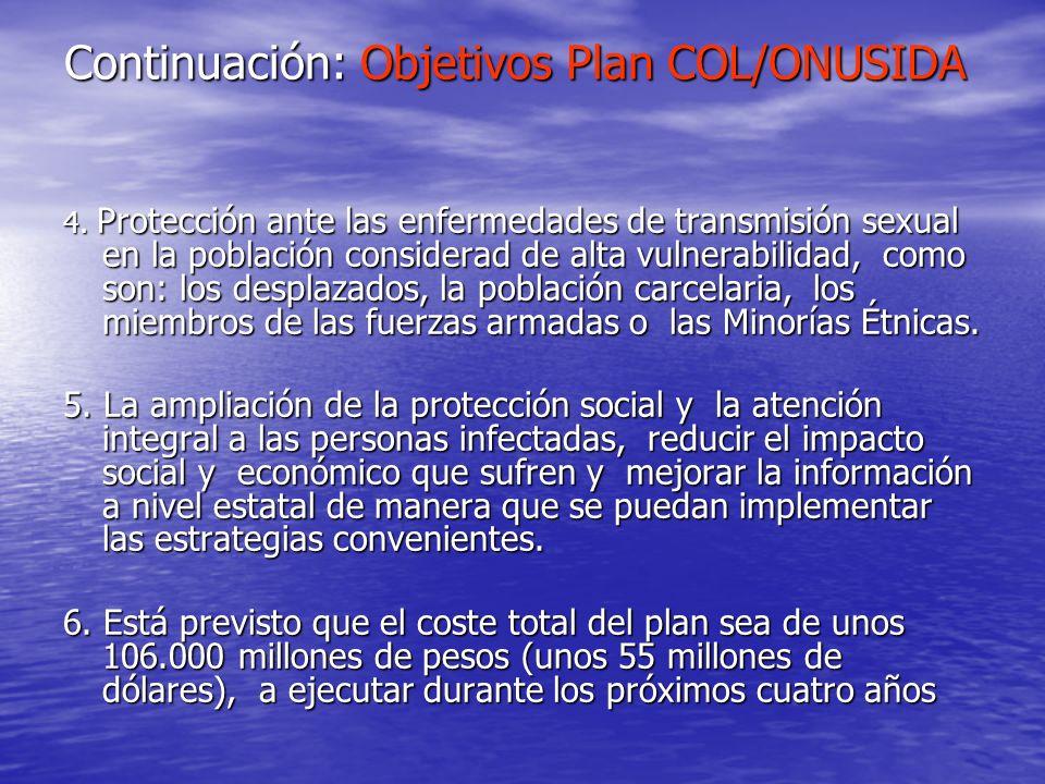 Continuación: Objetivos Plan COL/ONUSIDA 4. Protección ante las enfermedades de transmisión sexual en la población considerad de alta vulnerabilidad,