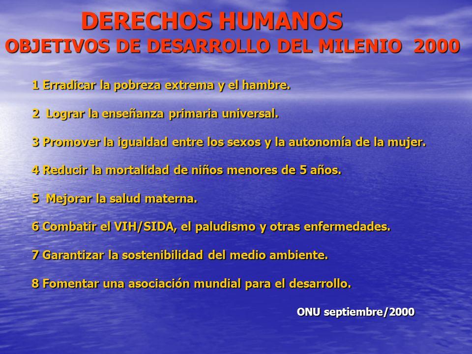 DERECHOS HUMANOS OBJETIVOS DE DESARROLLO DEL MILENIO 2000 DERECHOS HUMANOS OBJETIVOS DE DESARROLLO DEL MILENIO 2000 1 Erradicar la pobreza extrema y e
