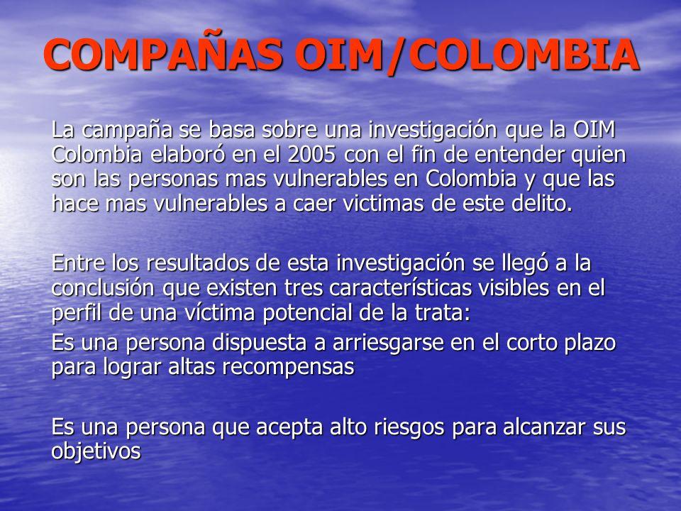 COMPAÑAS OIM/COLOMBIA La campaña se basa sobre una investigación que la OIM Colombia elaboró en el 2005 con el fin de entender quien son las personas