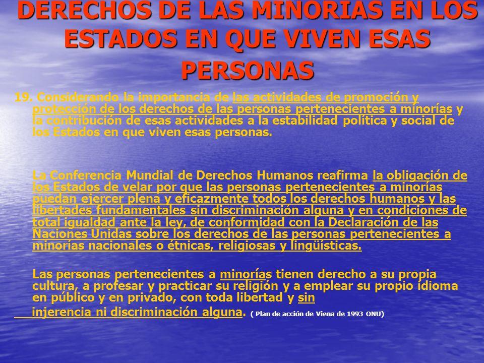 DERECHOS DE LAS MINORIAS EN LOS ESTADOS EN QUE VIVEN ESAS PERSONAS 19. Considerando la importancia de las actividades de promoción y protección de los