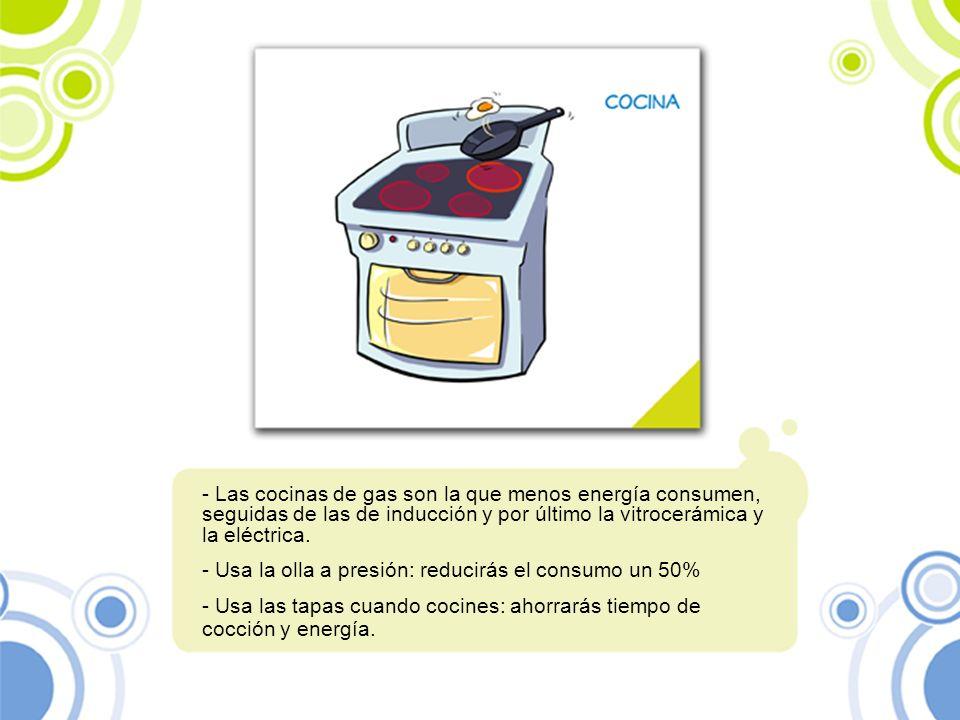 - Las cocinas de gas son la que menos energía consumen, seguidas de las de inducción y por último la vitrocerámica y la eléctrica. - Usa la olla a pre
