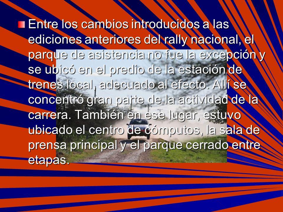 Entre los cambios introducidos a las ediciones anteriores del rally nacional, el parque de asistencia no fue la excepción y se ubicó en el predio de la estación de trenes local, adecuado al efecto.