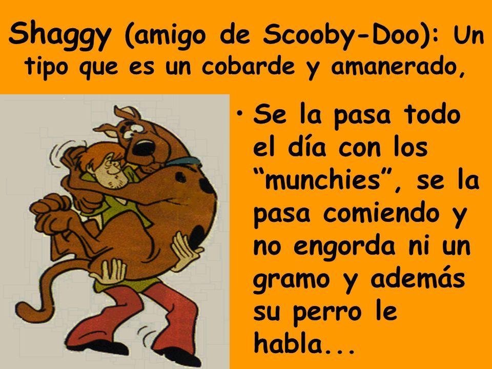 Shaggy (amigo de Scooby-Doo): Un tipo que es un cobarde y amanerado, Se la pasa todo el día con los munchies, se la pasa comiendo y no engorda ni un gramo y además su perro le habla...