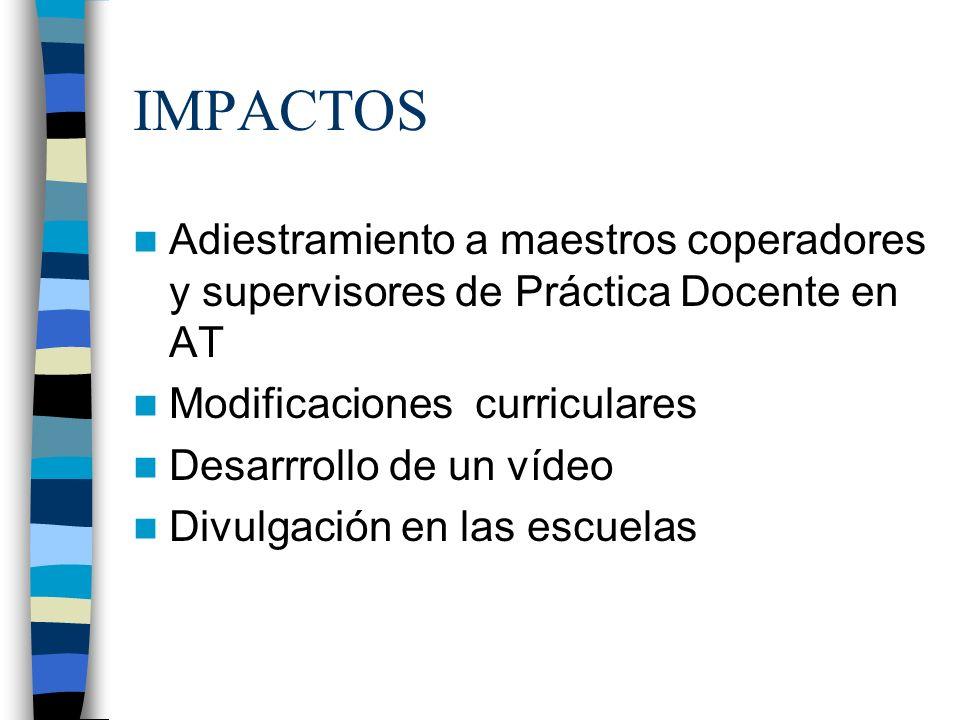 IMPACTOS Adiestramiento a maestros coperadores y supervisores de Práctica Docente en AT Modificaciones curriculares Desarrrollo de un vídeo Divulgació