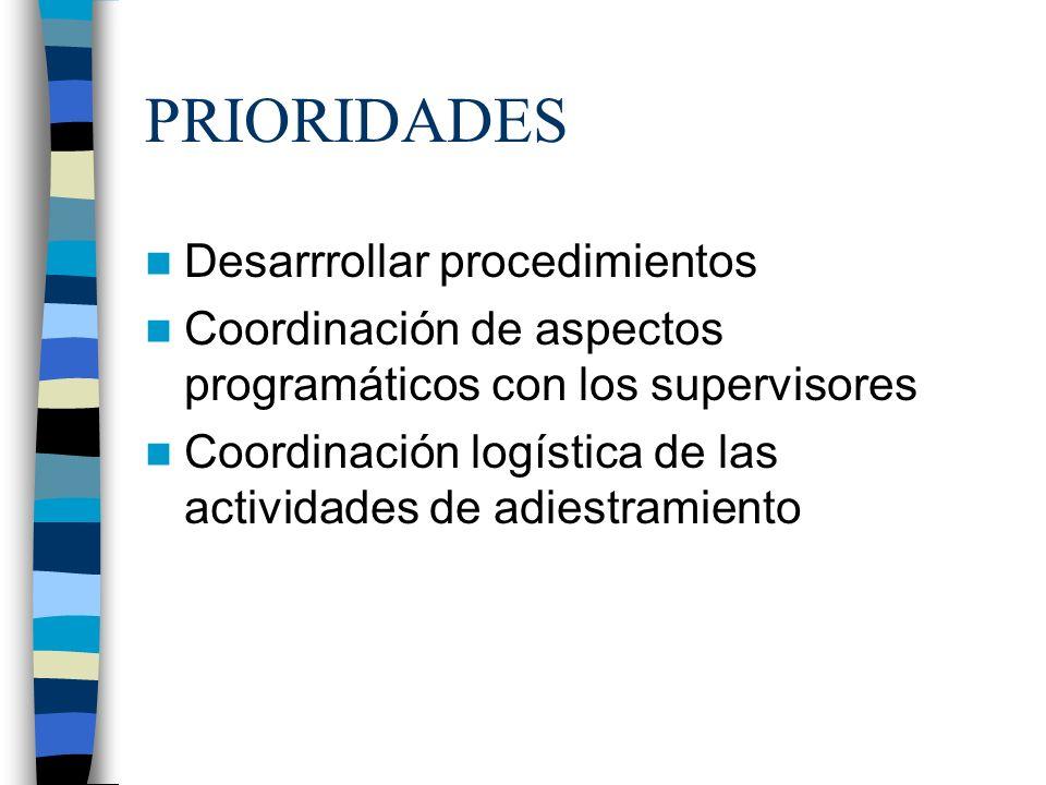 PRIORIDADES Desarrrollar procedimientos Coordinación de aspectos programáticos con los supervisores Coordinación logística de las actividades de adies
