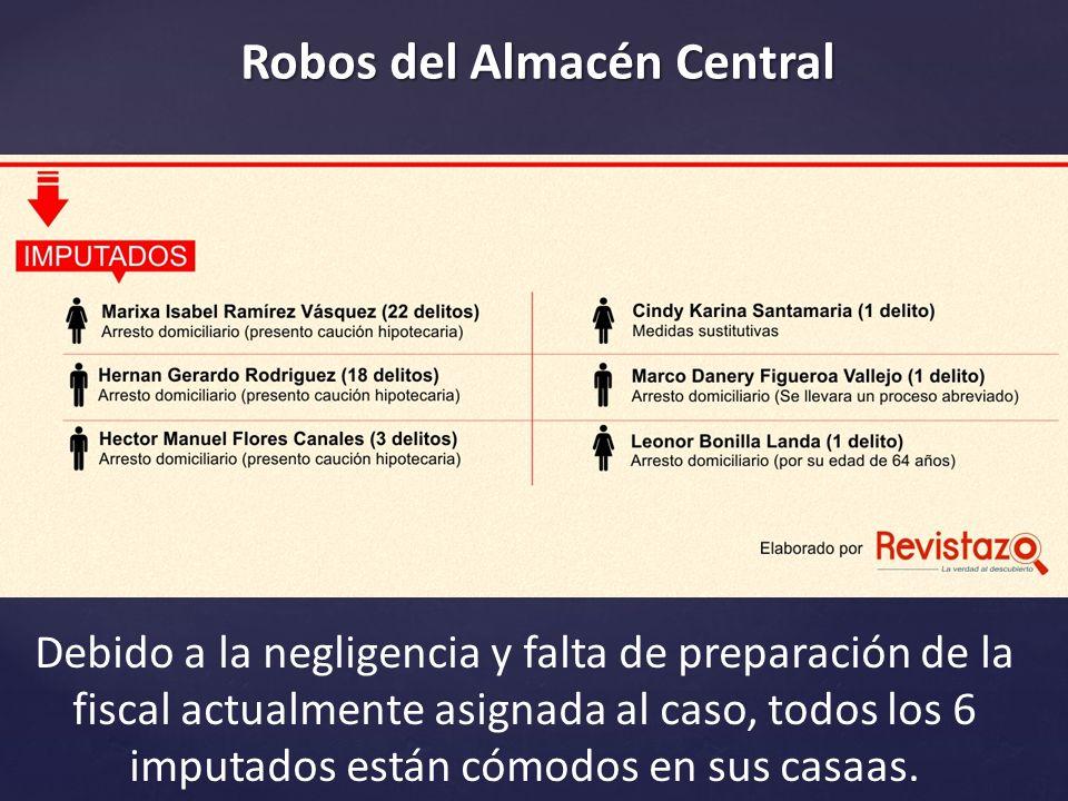 Robos del Almacén Central Debido a la negligencia y falta de preparación de la fiscal actualmente asignada al caso, todos los 6 imputados están cómodos en sus casaas.