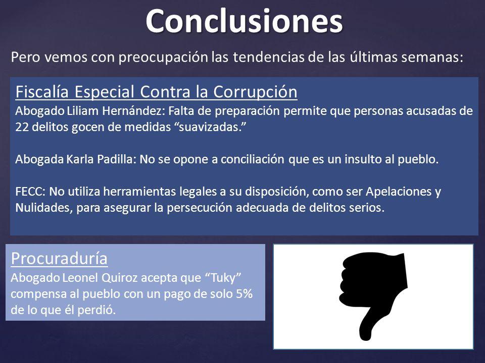 Conclusiones Pero vemos con preocupación las tendencias de las últimas semanas: Fiscalía Especial Contra la Corrupción Abogado Liliam Hernández: Falta de preparación permite que personas acusadas de 22 delitos gocen de medidas suavizadas.