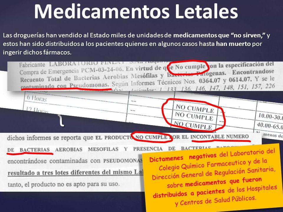 { Las droguerías han vendido al Estado miles de unidades de medicamentos que no sirven, y estos han sido distribuidos a los pacientes quienes en algunos casos hasta han muerto por ingerir dichos fármacos.
