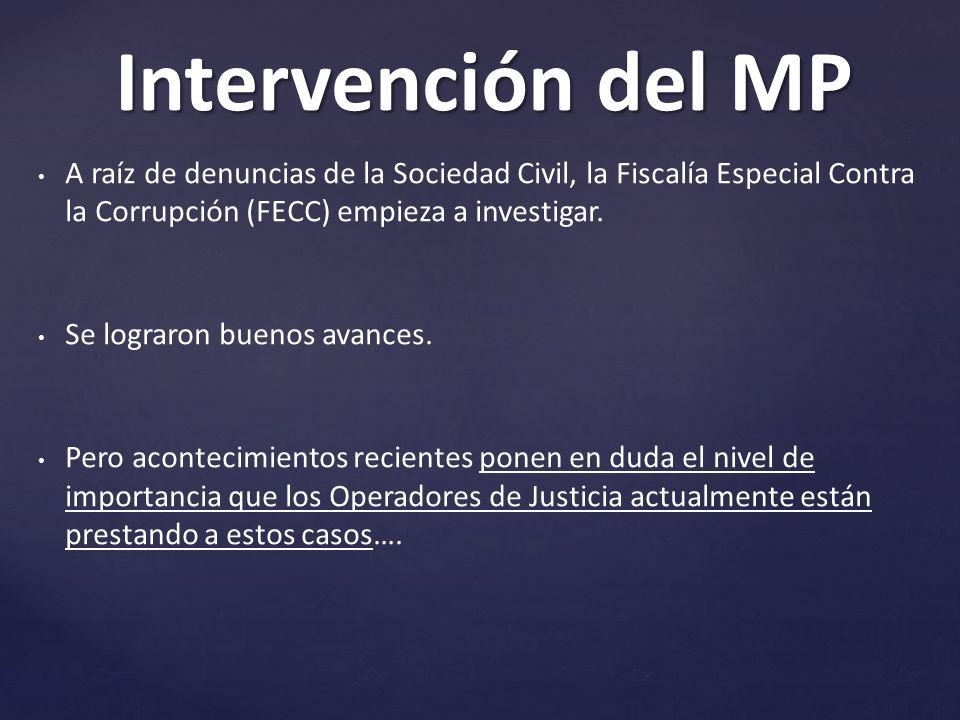 A raíz de denuncias de la Sociedad Civil, la Fiscalía Especial Contra la Corrupción (FECC) empieza a investigar.