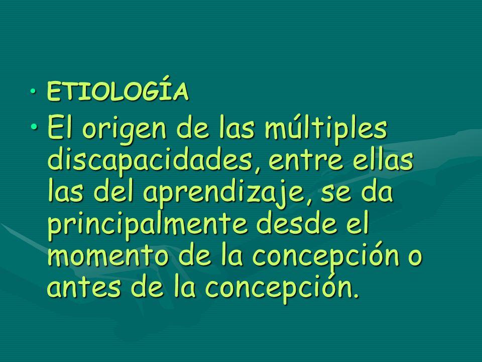 ETIOLOGÍAETIOLOGÍA El origen de las múltiples discapacidades, entre ellas las del aprendizaje, se da principalmente desde el momento de la concepción