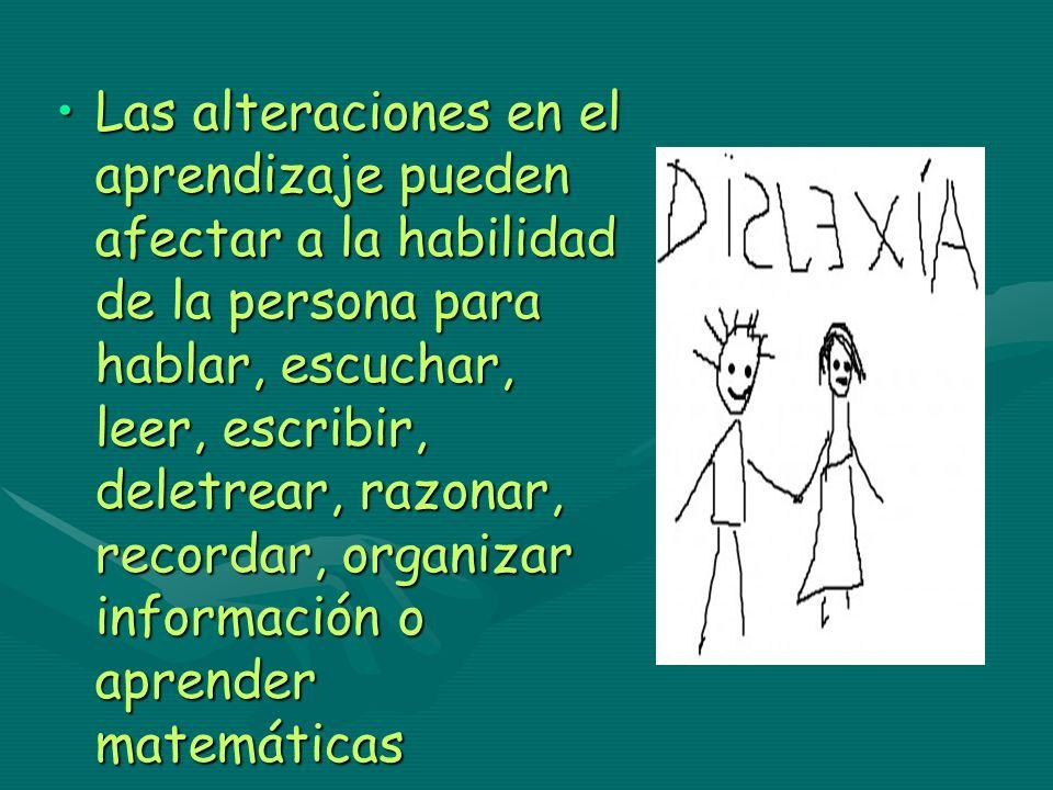 Las alteraciones en el aprendizaje pueden afectar a la habilidad de la persona para hablar, escuchar, leer, escribir, deletrear, razonar, recordar, or