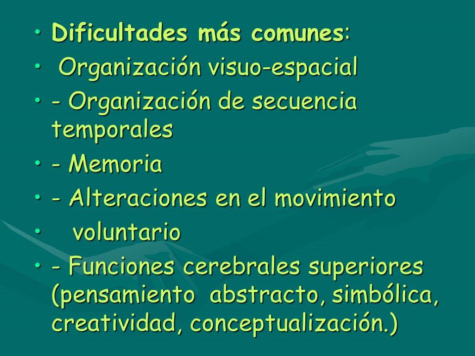 Dificultades más comunes:Dificultades más comunes: Organización visuo-espacial Organización visuo-espacial - Organización de secuencia temporales- Org