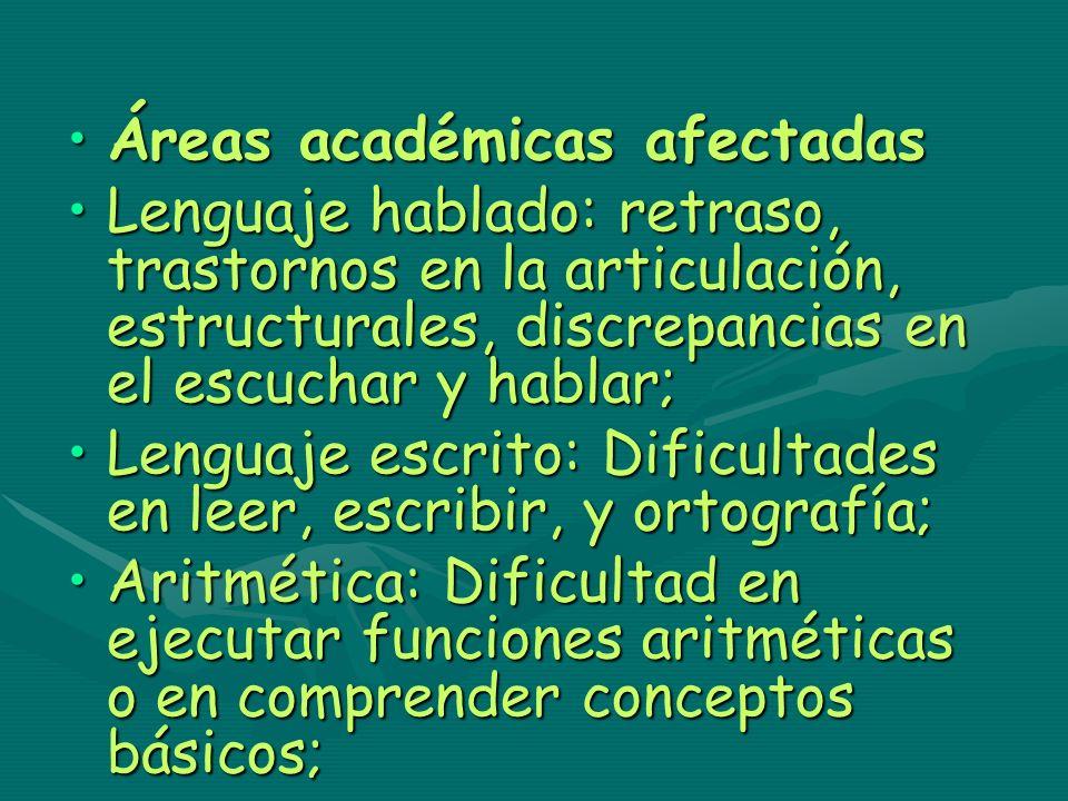 Áreas académicas afectadasÁreas académicas afectadas Lenguaje hablado: retraso, trastornos en la articulación, estructurales, discrepancias en el escu