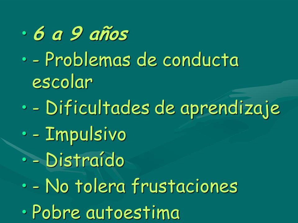 6 a 9 años6 a 9 años - Problemas de conducta escolar- Problemas de conducta escolar - Dificultades de aprendizaje- Dificultades de aprendizaje - Impul