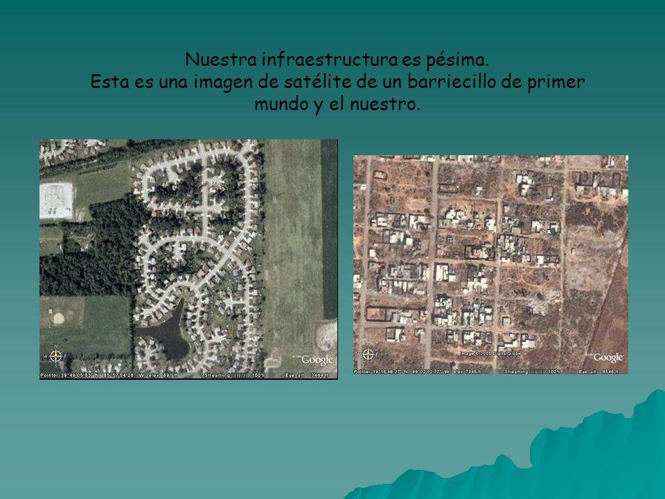 Nuestra infraestructura es pésima. Esta es una imagen de satélite de un barriecillo de primer mundo y el nuestro.
