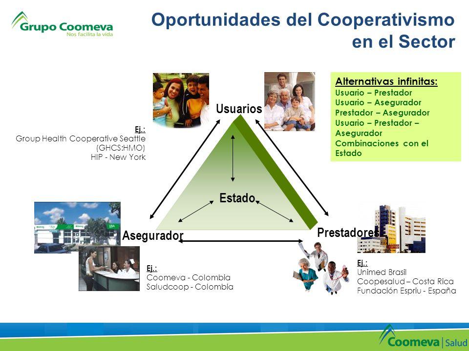 Oportunidades del Cooperativismo en el Sector Usuarios Prestadores Asegurador Estado Alternativas infinitas: Usuario – Prestador Usuario – Asegurador