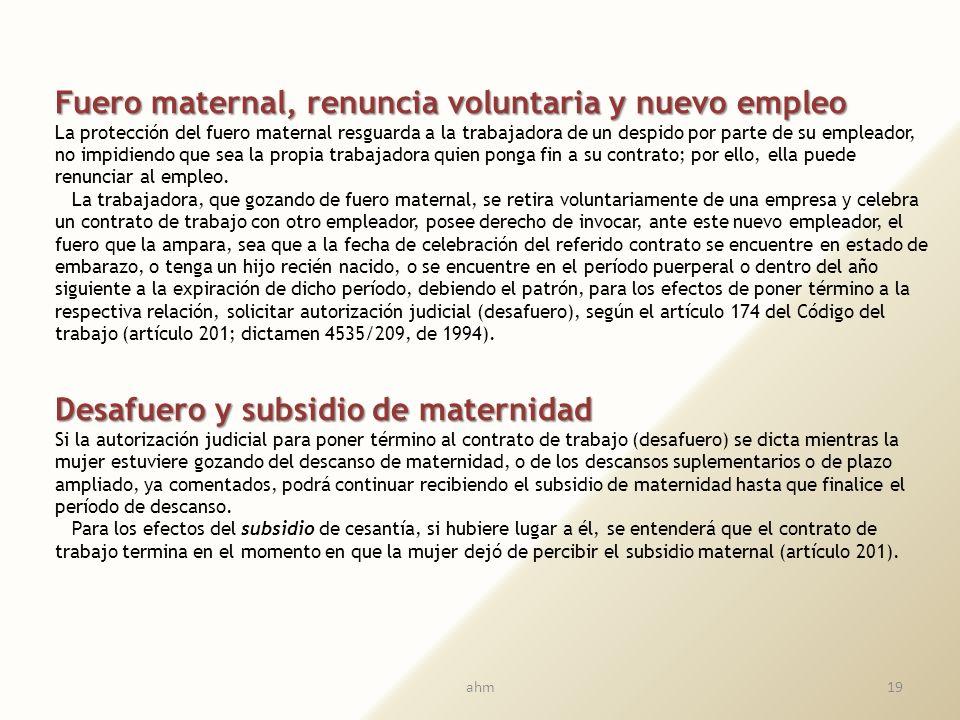 18 Fuero maternal y contrato de plazo fijo El cumplimiento del plazo de un contrato de plazo fijo no produce su terminación respecto de una trabajador