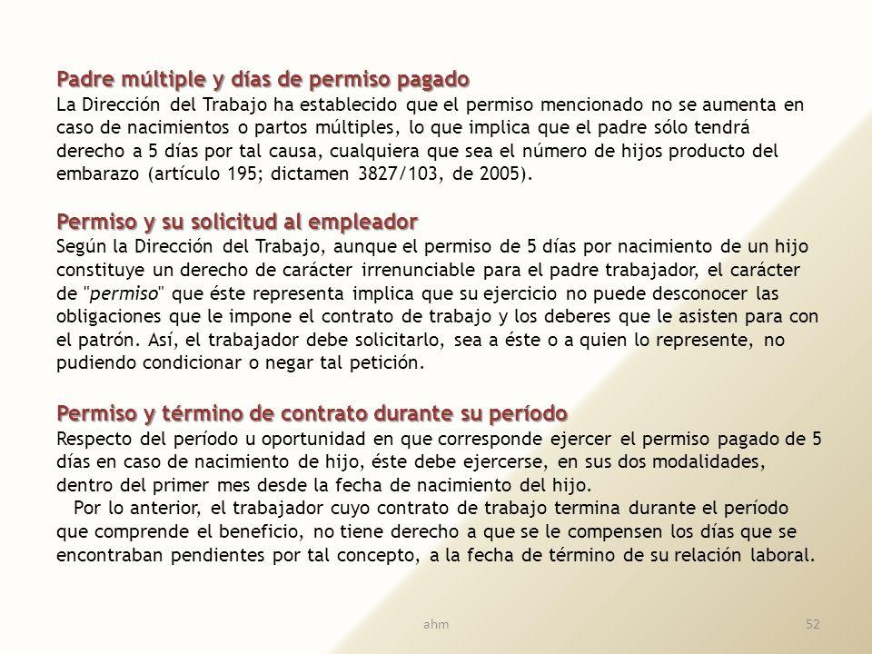 Ejercicio del derecho a permisos pagados del trabajador padre Ejercicio del derecho a permisos pagados del trabajador padre a) Si el trabajador utiliz