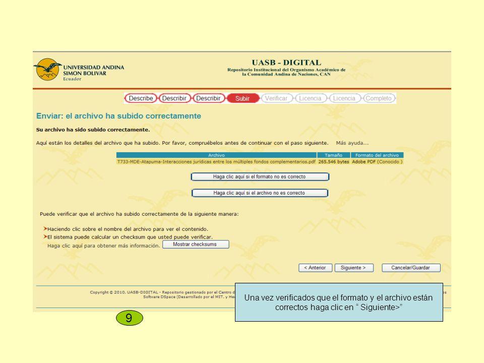 Una vez verificados que el formato y el archivo están correctos haga clic en Siguiente> 9
