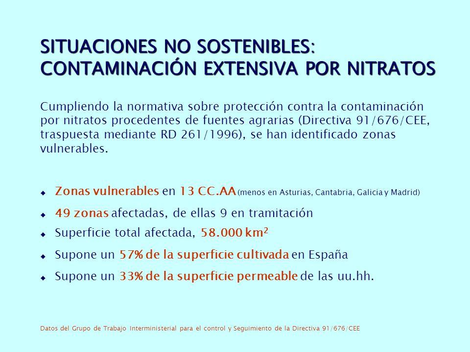 SITUACIONES NO SOSTENIBLES: CONTAMINACIÓN EXTENSIVA POR NITRATOS Cumpliendo la normativa sobre protección contra la contaminación por nitratos procedentes de fuentes agrarias (Directiva 91/676/CEE, traspuesta mediante RD 261/1996), se han identificado zonas vulnerables.
