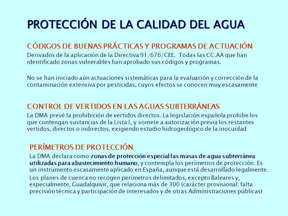 PROTECCIÓN DE LA CALIDAD DEL AGUA CÓDIGOS DE BUENAS PRÁCTICAS Y PROGRAMAS DE ACTUACIÓN Derivados de la aplicación de la Directiva 91/676/CEE.