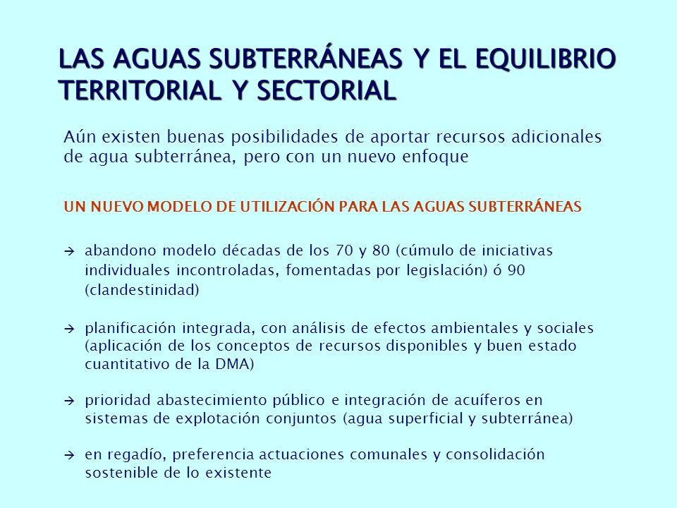 LAS AGUAS SUBTERRÁNEAS Y EL EQUILIBRIO TERRITORIAL Y SECTORIAL Aún existen buenas posibilidades de aportar recursos adicionales de agua subterránea, pero con un nuevo enfoque UN NUEVO MODELO DE UTILIZACIÓN PARA LAS AGUAS SUBTERRÁNEAS abandono modelo décadas de los 70 y 80 (cúmulo de iniciativas individuales incontroladas, fomentadas por legislación) ó 90 (clandestinidad) planificación integrada, con análisis de efectos ambientales y sociales (aplicación de los conceptos de recursos disponibles y buen estado cuantitativo de la DMA) prioridad abastecimiento público e integración de acuíferos en sistemas de explotación conjuntos (agua superficial y subterránea) en regadío, preferencia actuaciones comunales y consolidación sostenible de lo existente