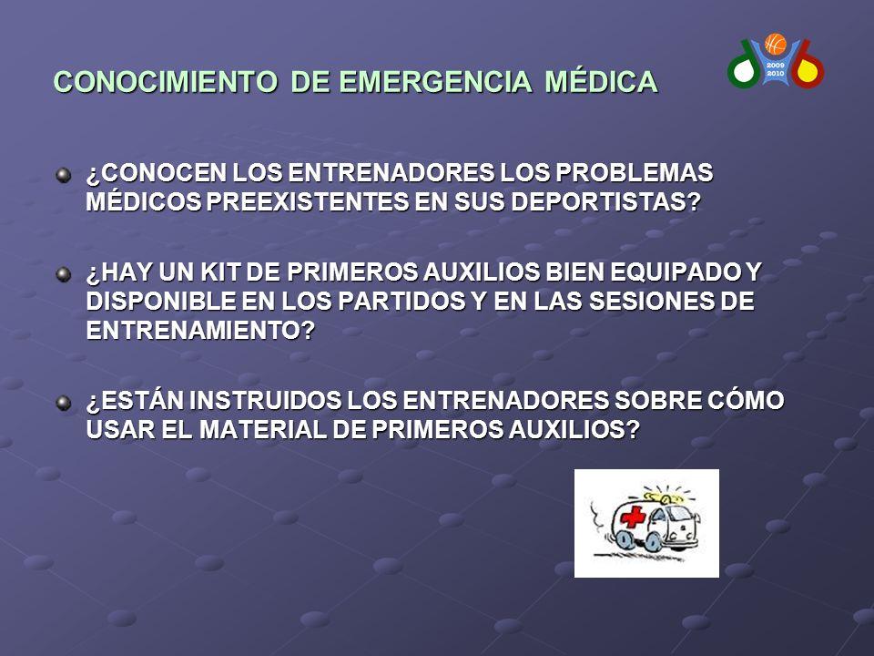 CONOCIMIENTO DE EMERGENCIA MÉDICA ¿CONOCEN LOS ENTRENADORES LOS PROBLEMAS MÉDICOS PREEXISTENTES EN SUS DEPORTISTAS.