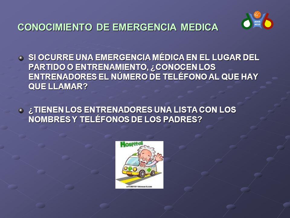 CONOCIMIENTO DE EMERGENCIA MEDICA SI OCURRE UNA EMERGENCIA MÉDICA EN EL LUGAR DEL PARTIDO O ENTRENAMIENTO, ¿CONOCEN LOS ENTRENADORES EL NÚMERO DE TELÉFONO AL QUE HAY QUE LLAMAR.