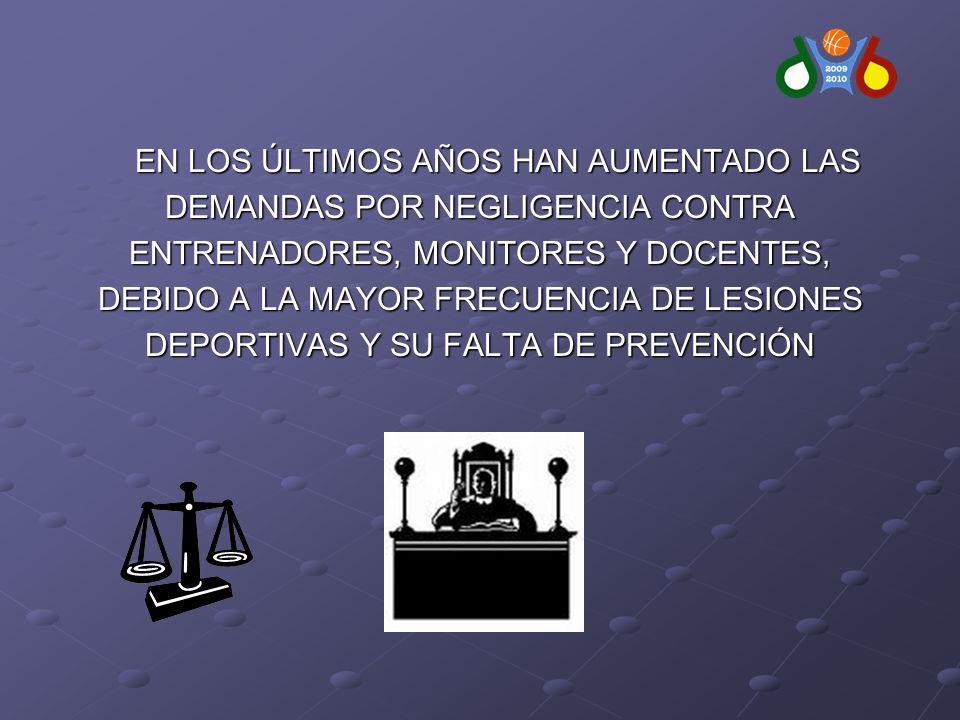 EN LOS ÚLTIMOS AÑOS HAN AUMENTADO LAS DEMANDAS POR NEGLIGENCIA CONTRA ENTRENADORES, MONITORES Y DOCENTES, DEBIDO A LA MAYOR FRECUENCIA DE LESIONES DEPORTIVAS Y SU FALTA DE PREVENCIÓN