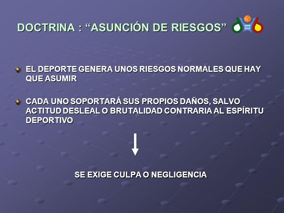 EL DEPORTE GENERA UNOS RIESGOS NORMALES QUE HAY QUE ASUMIR CADA UNO SOPORTARÁ SUS PROPIOS DAÑOS, SALVO ACTITUD DESLEAL O BRUTALIDAD CONTRARIA AL ESPÍRITU DEPORTIVO SE EXIGE CULPA O NEGLIGENCIA SE EXIGE CULPA O NEGLIGENCIA DOCTRINA : ASUNCIÓN DE RIESGOS