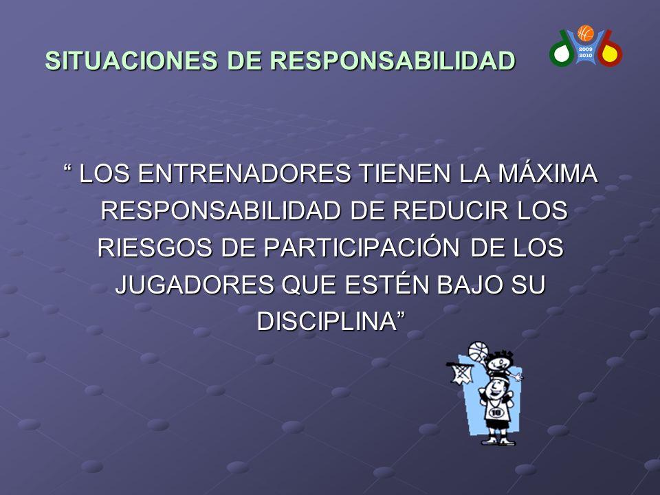 LOS ENTRENADORES TIENEN LA MÁXIMA LOS ENTRENADORES TIENEN LA MÁXIMA RESPONSABILIDAD DE REDUCIR LOS RESPONSABILIDAD DE REDUCIR LOS RIESGOS DE PARTICIPACIÓN DE LOS JUGADORES QUE ESTÉN BAJO SU DISCIPLINA SITUACIONES DE RESPONSABILIDAD SITUACIONES DE RESPONSABILIDAD